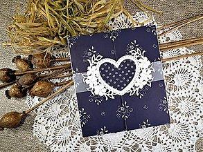 Papiernictvo - Modrotlačová svadba III. pohľadnica-obálka na peniaze - 10669183_