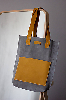 Veľké tašky - kožená_sivo-okrová - 10668273_