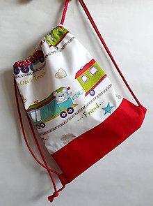Detské tašky - Vrecúško na prezuvky - vak- ruksak- pre deti (Červená) - 10670737_