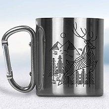 Nádoby - Kovový turistický hrnček s karabínkou (Strieborná karabínka) - 10667847_
