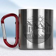 Nádoby - Kovový turistický hrnček s karabínkou (Červená karabínka) - 10667848_