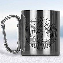 Nádoby - Kovový turistický hrnček s karabínkou (Strieborná karabínka) - 10667849_