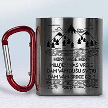 Nádoby - Kovový turistický hrnček s karabínkou (Červená karabínka) - 10667854_