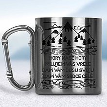 Nádoby - Kovový turistický hrnček s karabínkou (Strieborná karabínka) - 10667855_