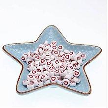 Korálky - KP104 Korálka s červeným srdiečkom 4x7 mm - 10670540_