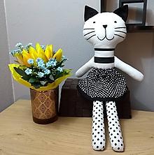 Hračky - Nádherná mojkacia hračka KOCÚR Bonifác alebo MAČIČKA Filoména (Čiernobiela mačička) - 10668681_