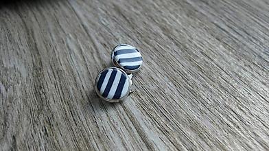 Náušnice - Námornícke klipsne modro biele, č. 2638 - 10668479_
