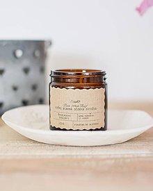 Svietidlá a sviečky - Sójová sviečka 130g v hnedom sklíčku (Vanilkový cupcake) - 10667979_