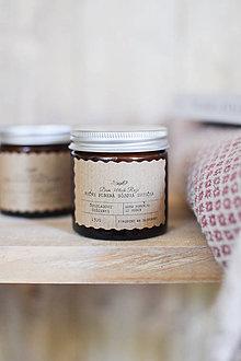 Svietidlá a sviečky - Sójová sviečka 130g v hnedom sklíčku (Čokoládové sušienky) - 10667981_