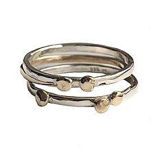 Prstene - Zlato stříbrný set tří prstýnků - 10668408_