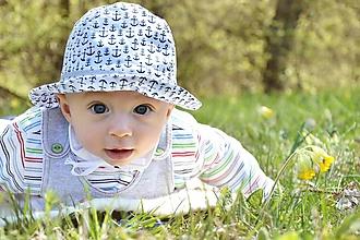 Detské čiapky - Letný klobúčik kotvičky - 10668366_