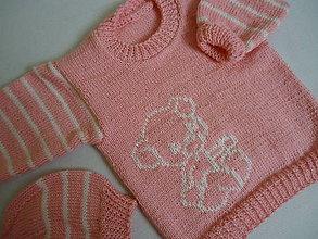 Detské súpravy - detská súpravička ružová - biely macík - 10673849_