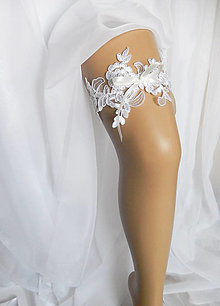 Bielizeň/Plavky - Svadobný podväzok Marien s bielou mašličkou - 10673252_