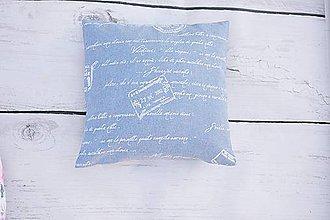Úžitkový textil - Obliečka na vankúš rifľový s nápismi - 10671392_