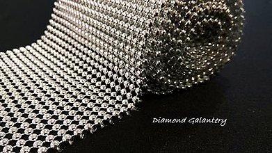 Galantéria - Kamienková stuha pologuľa strieborná - cena za 10 cm - 10671183_
