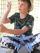 Detské oblečenie - tepláky z biobavlny Mačiatka (modrošedé) - 10673711_