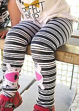 Detské oblečenie - legíny z biobavlny Prúžok s aplikáciou - 10673753_