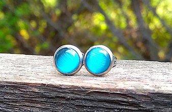 Náušnice - Napichovacie náušnice (CHO) s cateye akvamarínovo-modrými kamienkami - 10673302_
