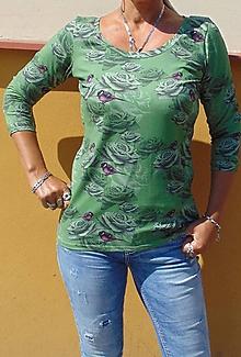 Tričká - Tričko růže a ptáčci, velikost M - 10673762_