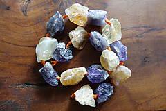 Minerály - Citrín a Ametyst vŕtané kamene - 10672365_