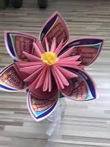 Darčeky pre svadobčanov - Gratulačný kvietok na žreby / bankovky - ružový - 10673956_