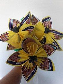 Darčeky pre svadobčanov - Gratulačná kytica na žreby - žltá - 10673792_