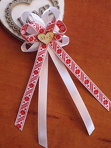 ee1488103d Pierka - Č. 329 Veľké folklórne pierka v červenom s iniciálkami - 10673907