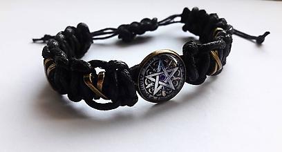 Náramky - Pletený náramok Pentagram - 10674047_