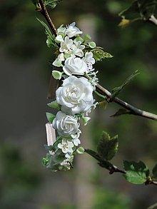 Ozdoby do vlasov - Kvetinová svadobná čelenka do vlasov - 10676331_