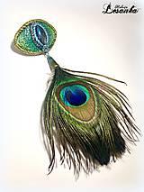Ozdoby do vlasov - ♥ Vlasový amulet s labradoritom a pávim pierkom ♥ - 10675728_