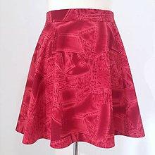 Sukne - Polkruhová sukňa z troch dielov ČERVENOBORDOVÁ - 10675271_
