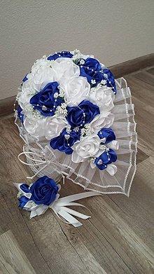 Kytice pre nevestu - Svadobná kytica s previsom (kráľovská modrá( - 10674343_