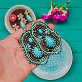 Gold&Turquoise earrings - vyšívané náušnice