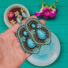 Náušnice - Gold&Turquoise earrings - vyšívané náušnice - 10675314_