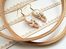 Náušnice - Béžová Verona - soutache earring - ručne šité šujtášové náušnice - 10675801_