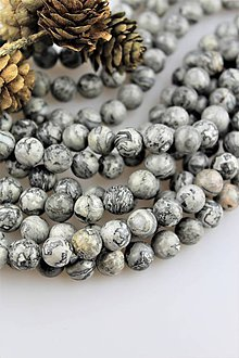 Minerály - jaspis sivý korálky 10mm - strieborný jaspis - 10676323_