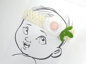 Detské doplnky - Nežná čelenka pre bábätko (Krémová) - 10675165_
