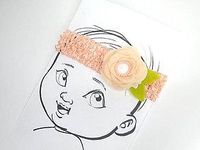 Detské doplnky - Nežná čelenka pre bábätko (Marhulová) - 10675176_