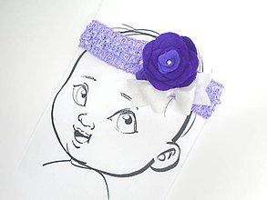 Detské doplnky - Nežná čelenka pre bábätko (Fialová) - 10675203_
