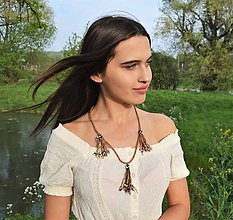 Náhrdelníky - Kožený náhrdelník, šperky v egyptskom štýle - 10674516_