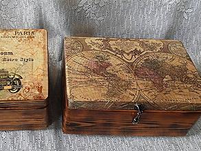 Krabičky - Truhla dárková vintage mapa - 10675292_