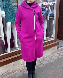 Kabáty - Kabátek s kapucí - barva ostružina, velikost M - 10675866_