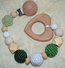 Hračky - Drevené hryzátko ružička (malá, veľká) (Zelená army) - 10676379_