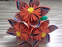 Darčeky pre svadobčanov - Gratulačná kytica na žreby / bankovky - oranžová - 10673968_