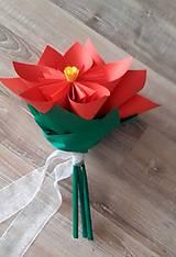 Darčeky pre svadobčanov - Gratulačná kytica na žreby / bankovky - červená - 10673974_