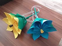 Darčeky pre svadobčanov - Gratulačný kvietok na žreby / bankovky - modrý - 10674187_