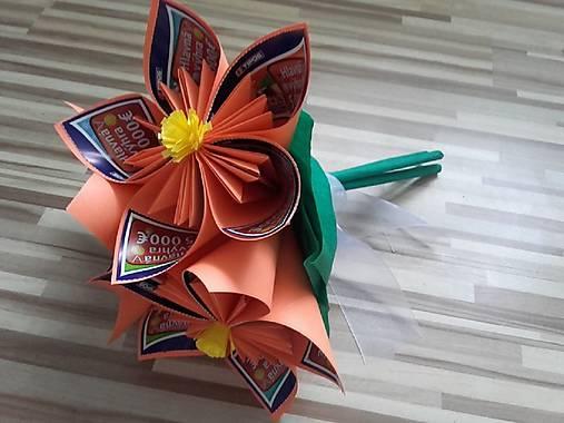 Gratulačná kytica na žreby / bankovky - oranžová