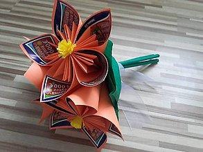 Darčeky pre svadobčanov - Gratulačná kytica na žreby - oranžová - 10673966_
