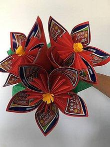 Darčeky pre svadobčanov - Gratulačná kytica na žreby - červená - 10673972_