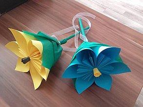 Darčeky pre svadobčanov - Gratulačný kvietok na žreby - modrý - 10674187_